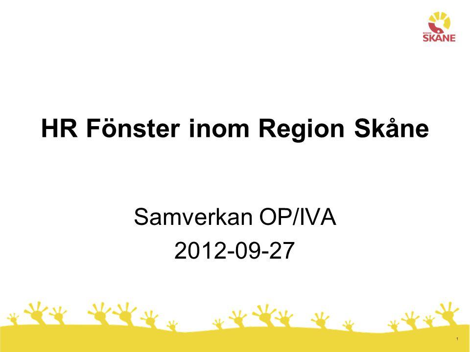 1 HR Fönster inom Region Skåne Samverkan OP/IVA 2012-09-27