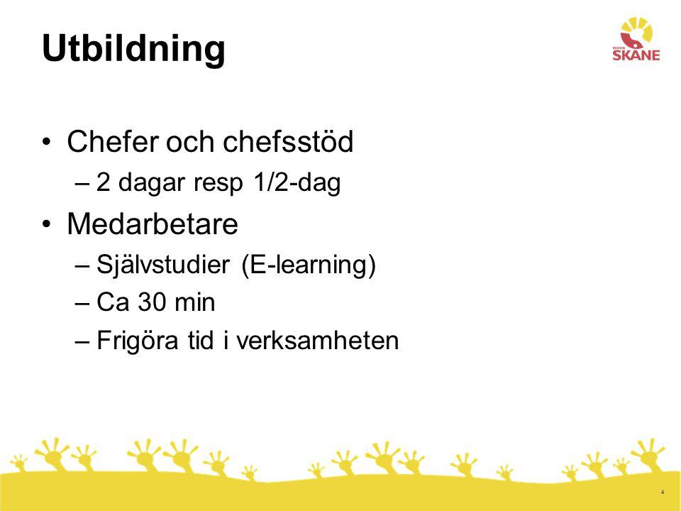 4 Utbildning •Chefer och chefsstöd –2 dagar resp 1/2-dag •Medarbetare –Självstudier (E-learning) –Ca 30 min –Frigöra tid i verksamheten