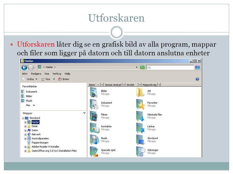 Utforskaren  Utforskaren låter dig se en grafisk bild av alla program, mappar och filer som ligger på datorn och till datorn anslutna enheter