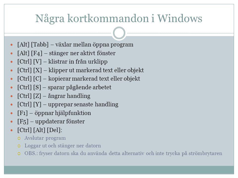 Några kortkommandon i Windows  [Alt] [Tabb] – växlar mellan öppna program  [Alt] [F4] – stänger ner aktivt fönster  [Ctrl] [V] – klistrar in från u