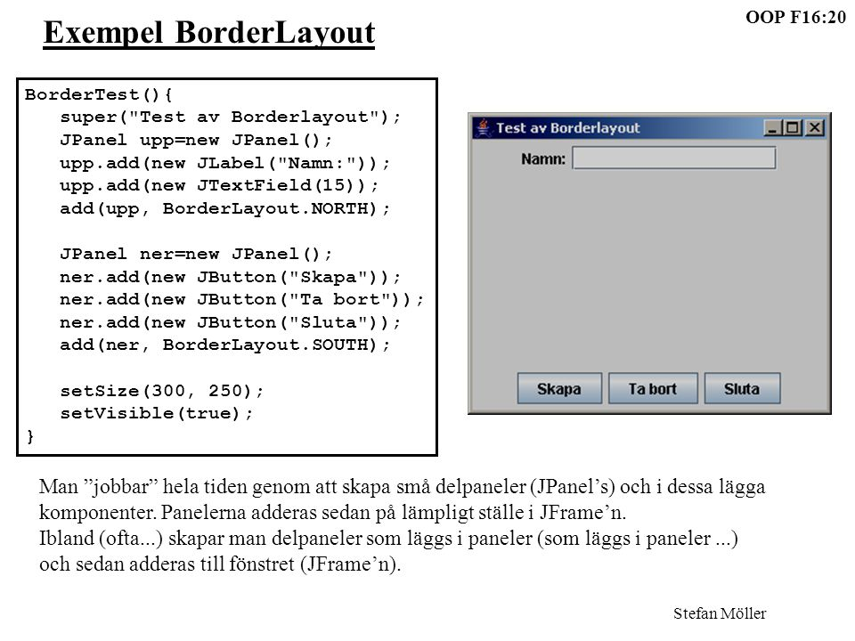 Stefan Möller OOP F16:20 Exempel BorderLayout BorderTest(){ super( Test av Borderlayout ); JPanel upp=new JPanel(); upp.add(new JLabel( Namn: )); upp.add(new JTextField(15)); add(upp, BorderLayout.NORTH); JPanel ner=new JPanel(); ner.add(new JButton( Skapa )); ner.add(new JButton( Ta bort )); ner.add(new JButton( Sluta )); add(ner, BorderLayout.SOUTH); setSize(300, 250); setVisible(true); } Man jobbar hela tiden genom att skapa små delpaneler (JPanel's) och i dessa lägga komponenter.