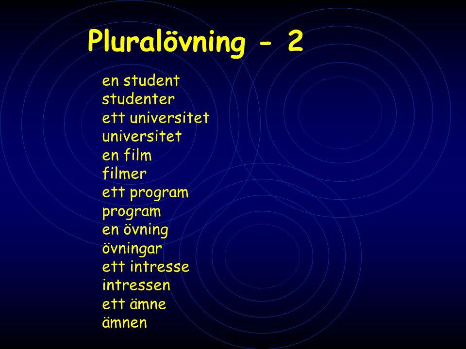 Pluralövning - 2 en student studenter ett universitet universitet en film filmer ett program program en övning övningar ett intresse intressen ett ämn