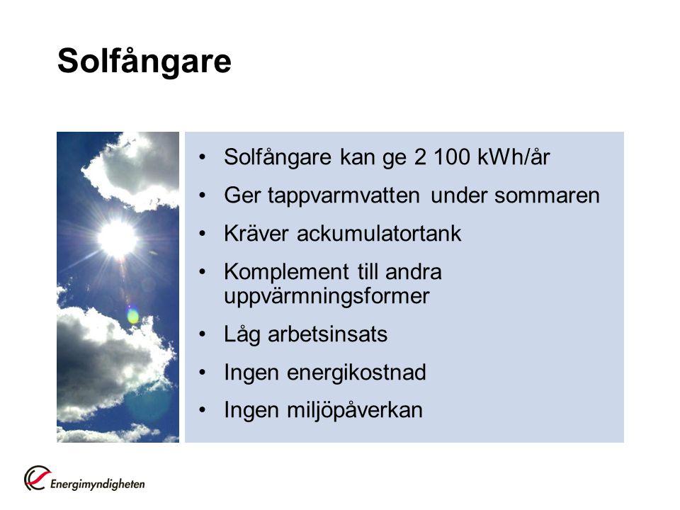Solfångare •Solfångare kan ge 2 100 kWh/år •Ger tappvarmvatten under sommaren •Kräver ackumulatortank •Komplement till andra uppvärmningsformer •Låg a