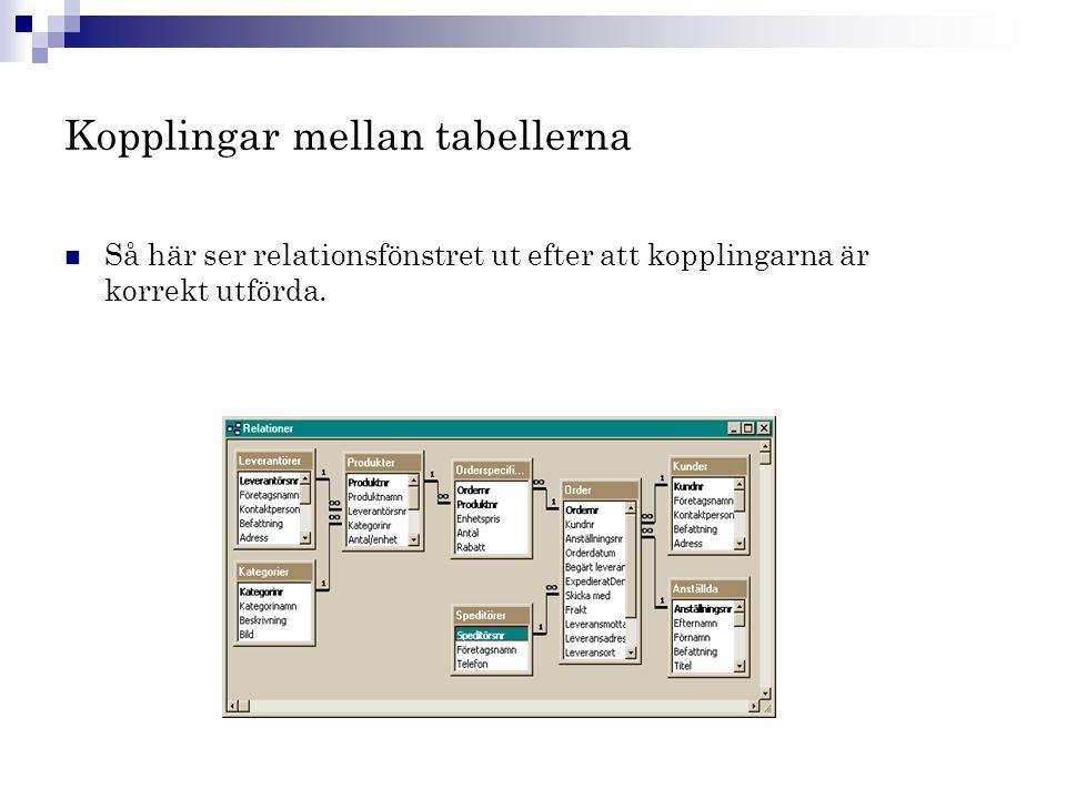 Kopplingar mellan tabellerna  Så här ser relationsfönstret ut efter att kopplingarna är korrekt utförda.
