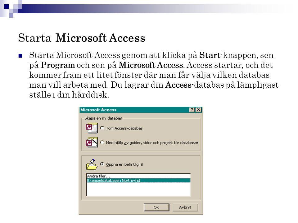 Starta Microsoft Access  Starta Microsoft Access genom att klicka på Start-knappen, sen på Program och sen på Microsoft Access. Access startar, och d