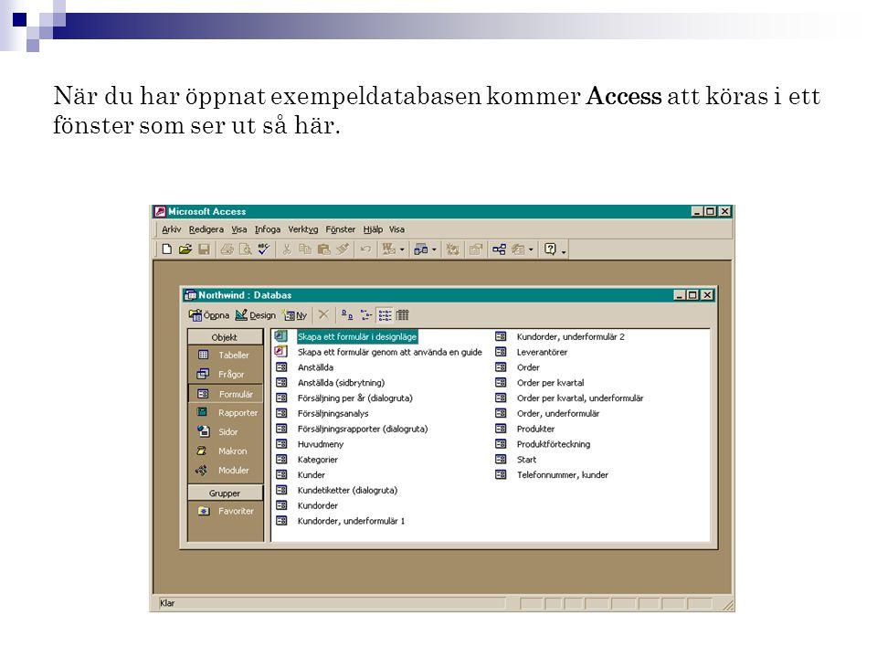 När du har öppnat exempeldatabasen kommer Access att köras i ett fönster som ser ut så här.
