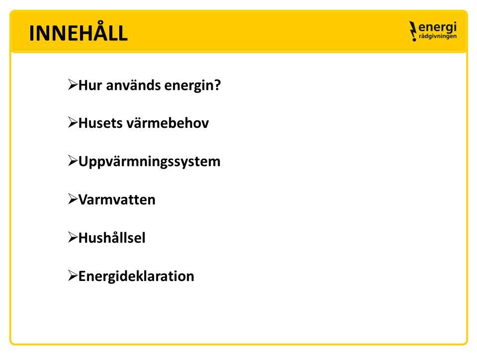 HUR ANVÄNDS ENERGIN ? Ett genomsnittligt småhus använder ca 25 000 kWh/år