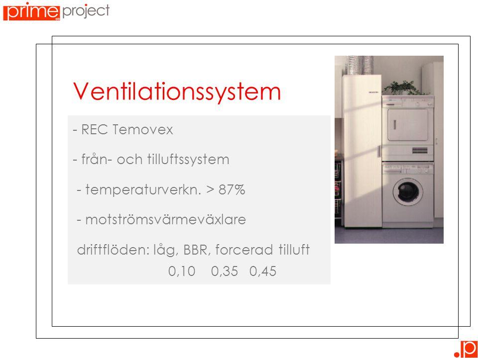- REC Temovex - från- och tilluftssystem - temperaturverkn. > 87% - motströmsvärmeväxlare driftflöden: låg, BBR, forcerad tilluft 0,10 0,35 0,45 Venti