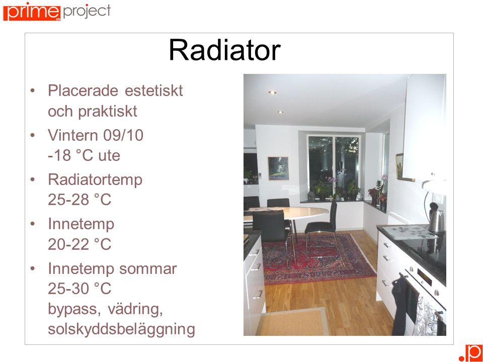 Radiator •Placerade estetiskt och praktiskt •Vintern 09/10 -18 °C ute •Radiatortemp 25-28 °C •Innetemp 20-22 °C •Innetemp sommar 25-30 °C bypass, vädring, solskyddsbeläggning