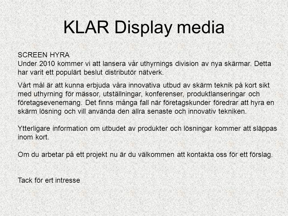 KLAR Display media Ett modernt konferensrum •Exempel på mötesrum som är ledigt eller upptaget...via fjärrkontroll. •Snabbt kan man nu skilja av rum me