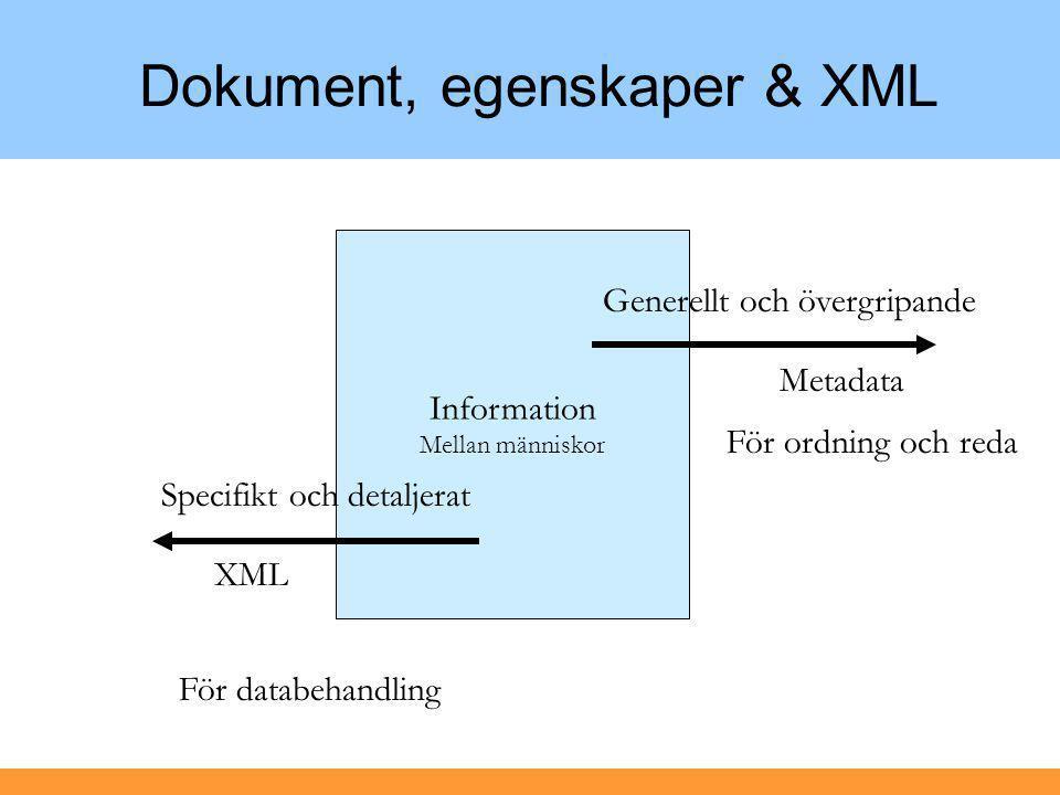 Information Mellan människor Dokument, egenskaper & XML Specifikt och detaljerat XML För databehandling Generellt och övergripande Metadata För ordning och reda