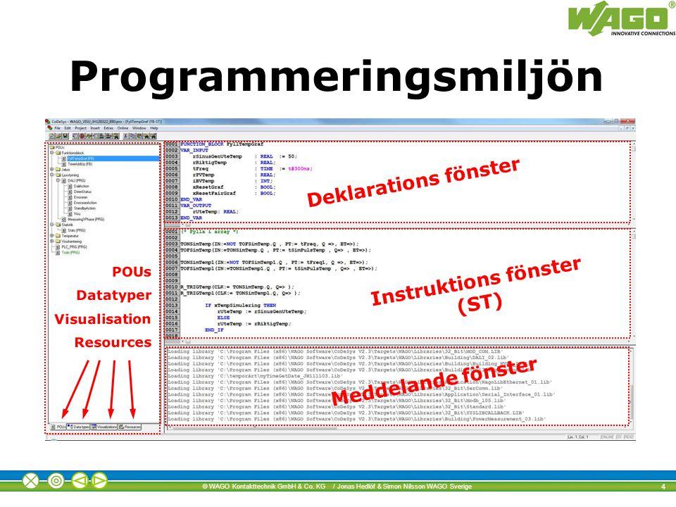 © WAGO Kontakttechnik GmbH & Co. KG / Jonas Hedlöf & Simon Nilsson WAGO Sverige 4 POUs Datatyper Visualisation Resources Instruktions fönster (ST) Dek