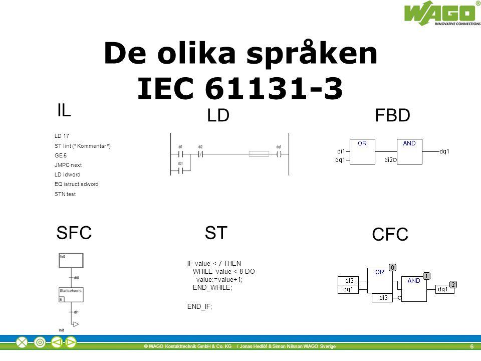 © WAGO Kontakttechnik GmbH & Co. KG / Jonas Hedlöf & Simon Nilsson WAGO Sverige 6 LD 17 ST lint (* Kommentar *) GE 5 JMPC next LD idword EQ istruct.sd