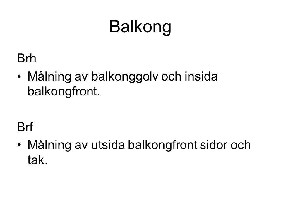 Balkong Brh •Målning av balkonggolv och insida balkongfront. Brf •Målning av utsida balkongfront sidor och tak.