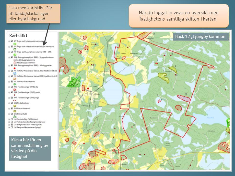 När du loggat in visas en översikt med fastighetens samtliga skiften i kartan.