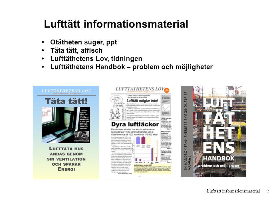 2 Lufttätt informationsmaterial •Otätheten suger, ppt •Täta tätt, affisch •Lufttäthetens Lov, tidningen •Lufttäthetens Handbok – problem och möjlighet