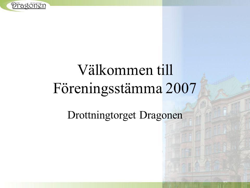 Välkommen till Föreningsstämma 2007 Drottningtorget Dragonen
