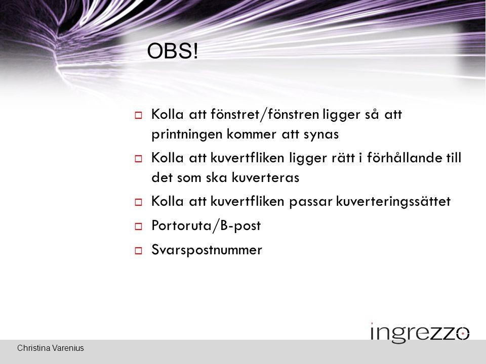 Christina Varenius OBS.