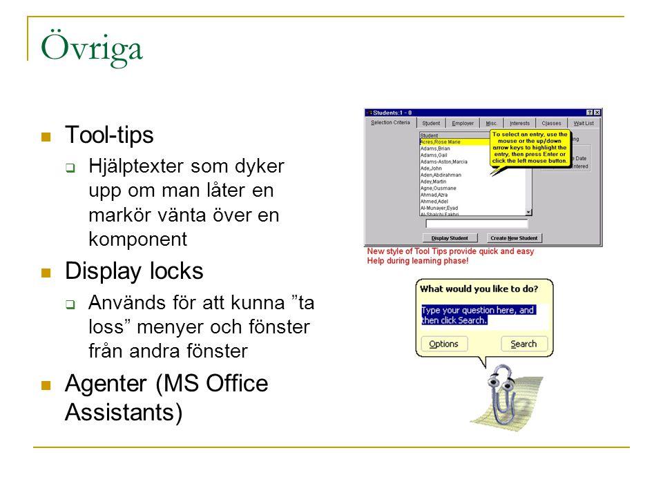 Övriga  Tool-tips  Hjälptexter som dyker upp om man låter en markör vänta över en komponent  Display locks  Används för att kunna ta loss menyer och fönster från andra fönster  Agenter (MS Office Assistants)