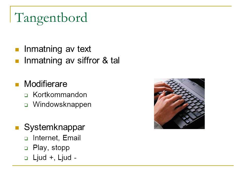 Tangentbord  Inmatning av text  Inmatning av siffror & tal  Modifierare  Kortkommandon  Windowsknappen  Systemknappar  Internet, Email  Play,