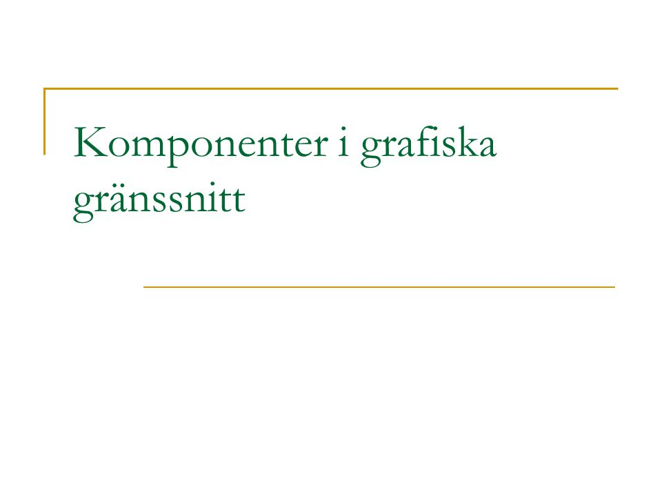 Guidelines: organisering av datapresentation (Smith & Moser, 1986)  Konsekvens  Terminologi, färg, format, placering, ordning  Tillåt effektiv informationsupptagning  Använd konventioner kring uppställningar, decimaler, mätenheter, etc.