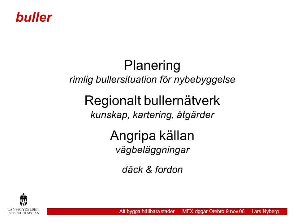 Planering rimlig bullersituation för nybebyggelse Regionalt bullernätverk kunskap, kartering, åtgärder Angripa källan vägbeläggningar däck & fordon bu