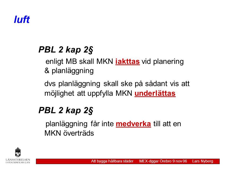 luft Att bygga hållbara städer MEX-dggar Örebro 9 nov 06 Lars Nyberg PBL 2 kap 2§ enligt MB skall MKN iakttas vid planering & planläggning dvs planläg
