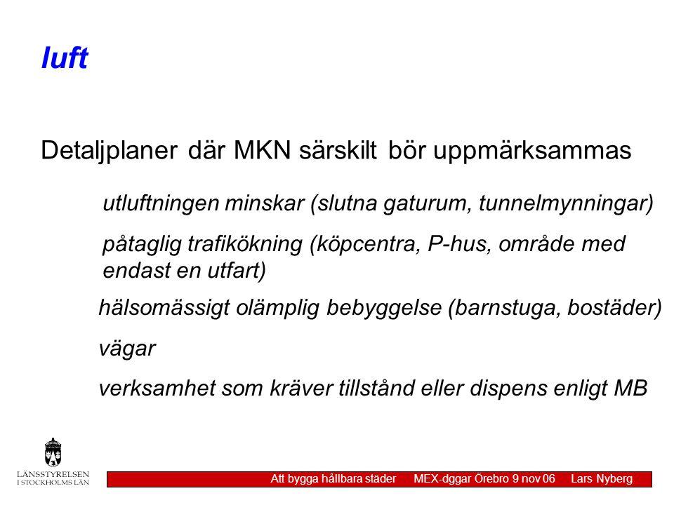 luft Att bygga hållbara städer MEX-dggar Örebro 9 nov 06 Lars Nyberg Detaljplaner där MKN särskilt bör uppmärksammas utluftningen minskar (slutna gatu