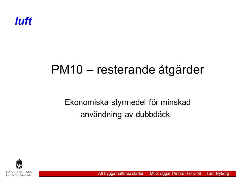 PM10 – resterande åtgärder Ekonomiska styrmedel för minskad användning av dubbdäck luft Att bygga hållbara städer MEX-dggar Örebro 9 nov 06 Lars Nyber