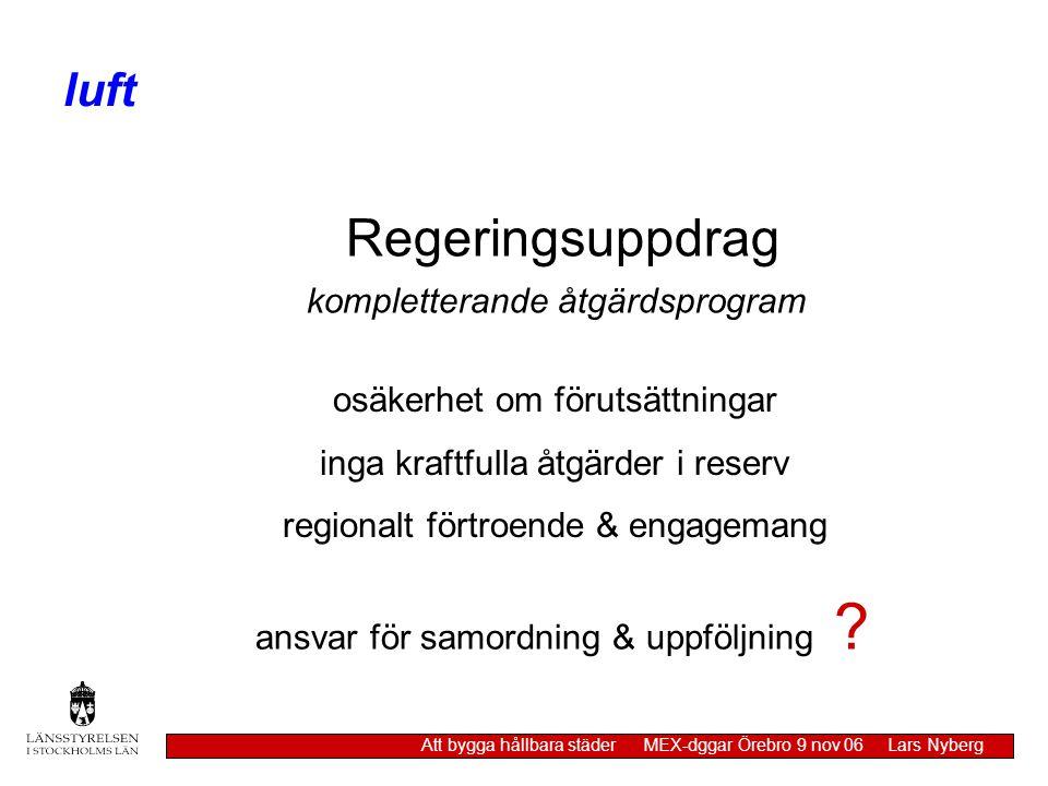 luft Att bygga hållbara städer MEX-dggar Örebro 9 nov 06 Lars Nyberg Regeringsuppdrag kompletterande åtgärdsprogram osäkerhet om förutsättningar inga