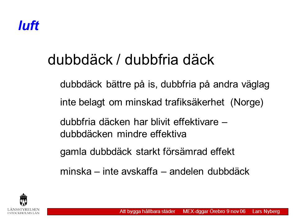 dubbdäck / dubbfria däck dubbdäck bättre på is, dubbfria på andra väglag inte belagt om minskad trafiksäkerhet (Norge) dubbfria däcken har blivit effe