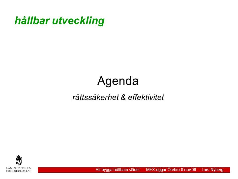 hållbar utveckling Att bygga hållbara städer MEX-dggar Örebro 9 nov 06 Lars Nyberg Agenda rättssäkerhet & effektivitet