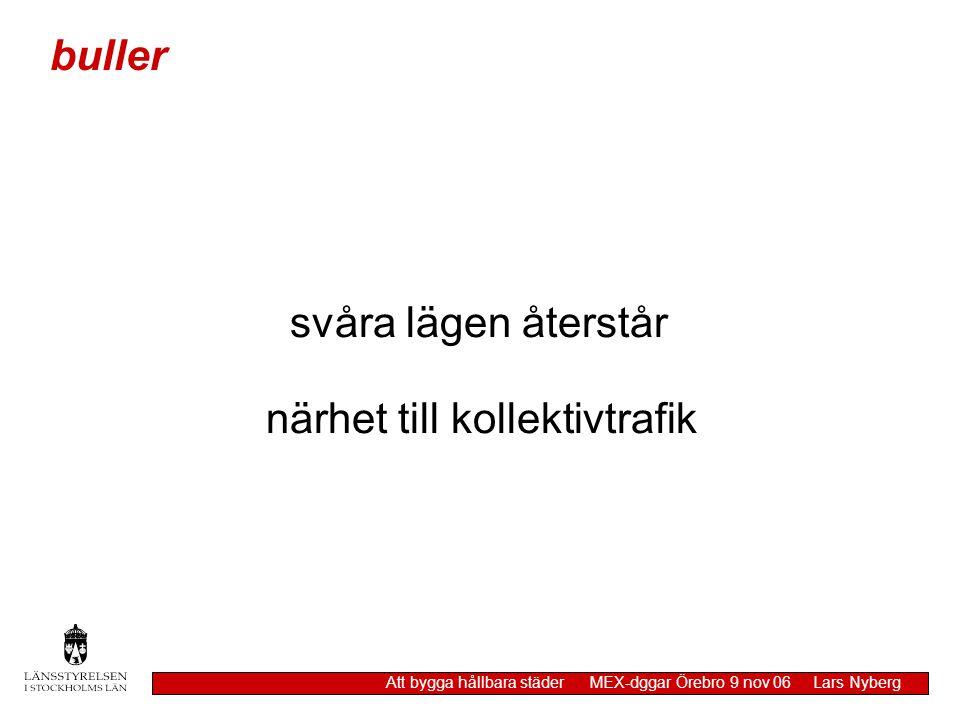 luft Att bygga hållbara städer MEX-dggar Örebro 9 nov 06 Lars Nyberg miljökvalitetsnorm gäller för utomhusluft med undantag av arbetsplatser, tåg / T-banestationer Naturvårdsverket