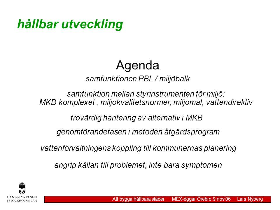 hållbar utveckling Att bygga hållbara städer MEX-dggar Örebro 9 nov 06 Lars Nyberg angrip källan till problemet, inte bara symptomen Agenda samfunktio