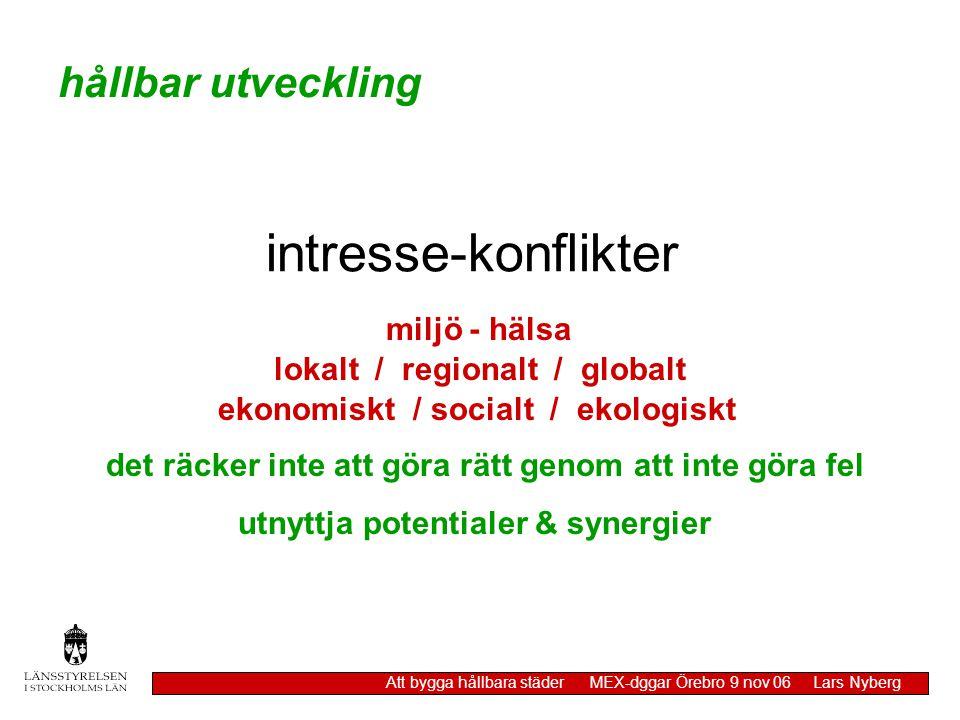 intresse-konflikter miljö - hälsa hållbar utveckling Att bygga hållbara städer MEX-dggar Örebro 9 nov 06 Lars Nyberg lokalt / regionalt / globalt ekon