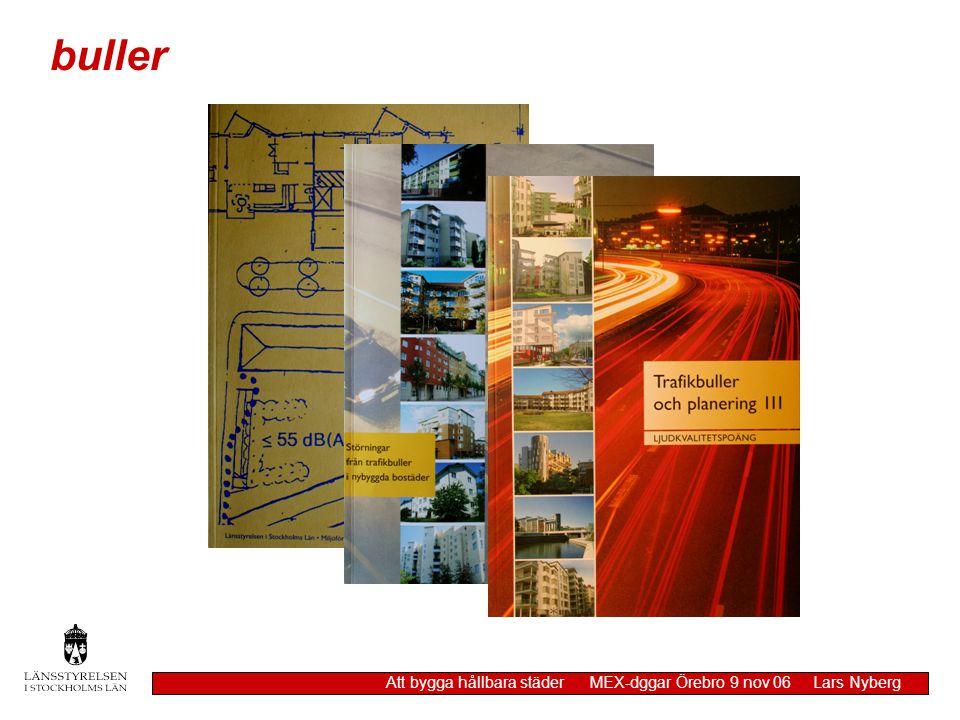 Skäl att frångå 55 dB(A) redovisa åtgärder som skulle krävas för att uppfylla riktvärden redovisa möjlig bullerdämpning vid källan planerade åtgärder för att förstärka positiva ljudfaktorer planerade åtgärder för att minska negativa ljudfaktorer buller Att bygga hållbara städer MEX-dggar Örebro 9 nov 06 Lars Nyberg