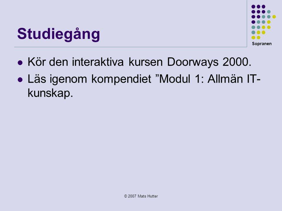 Sopranen © 2007 Mats Hutter Studiegång  Kör den interaktiva kursen Doorways 2000.