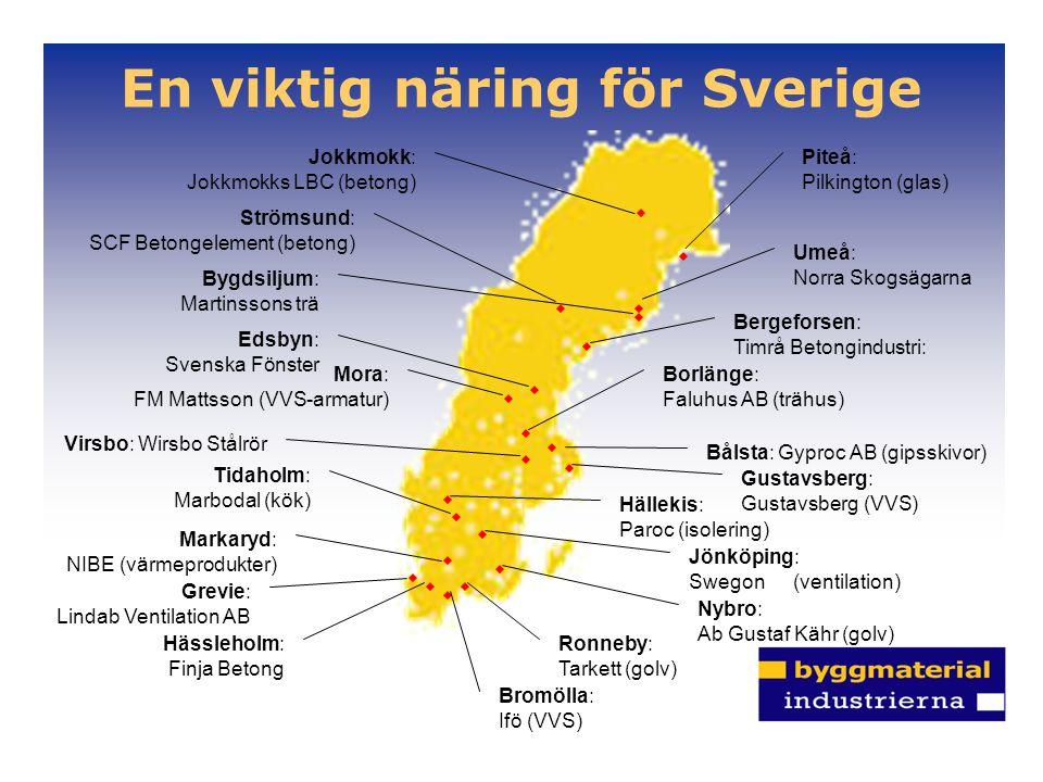 En viktig näring för Sverige Hässleholm: Finja Betong Bergeforsen: Timrå Betongindustri: Nybro: Ab Gustaf Kähr (golv) Tidaholm: Marbodal (kök) Edsbyn: