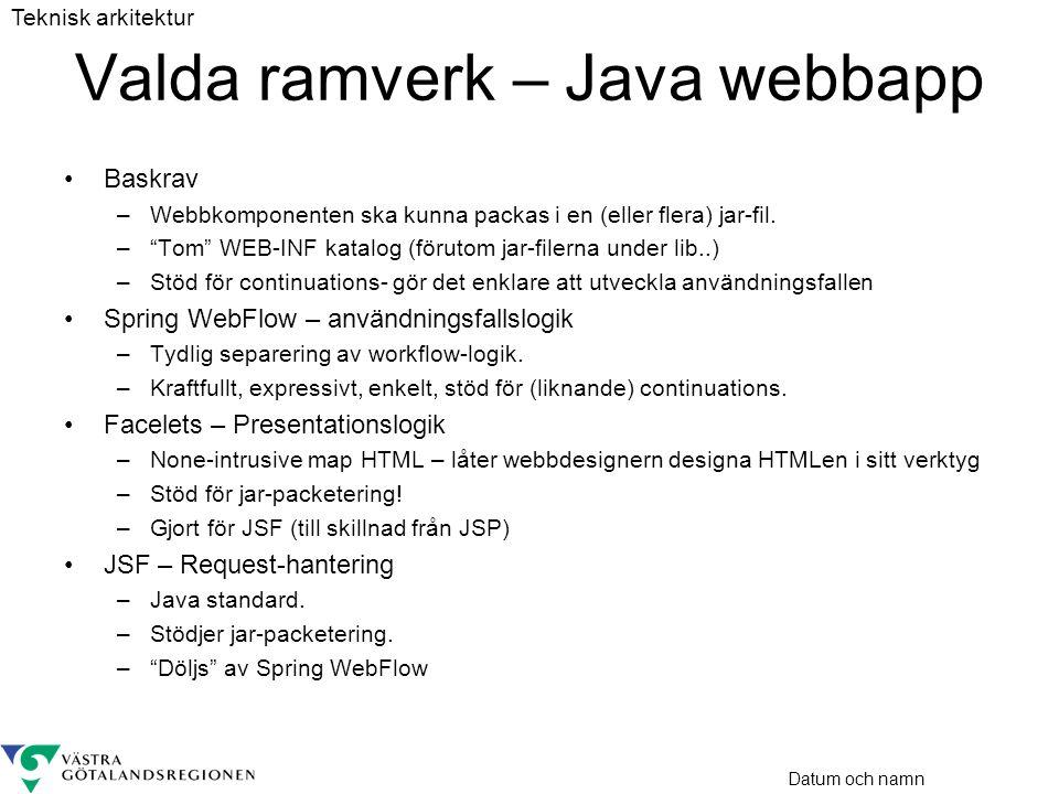 """Datum och namn Valda ramverk – Java webbapp •Baskrav –Webbkomponenten ska kunna packas i en (eller flera) jar-fil. –""""Tom"""" WEB-INF katalog (förutom jar"""