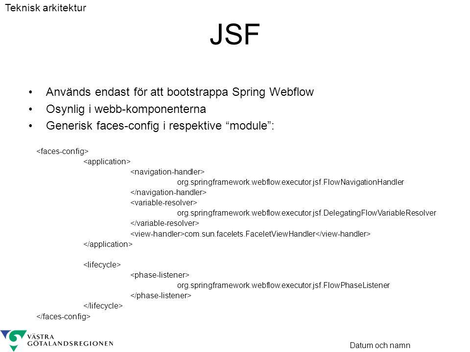 """Datum och namn JSF •Används endast för att bootstrappa Spring Webflow •Osynlig i webb-komponenterna •Generisk faces-config i respektive """"module"""": org."""