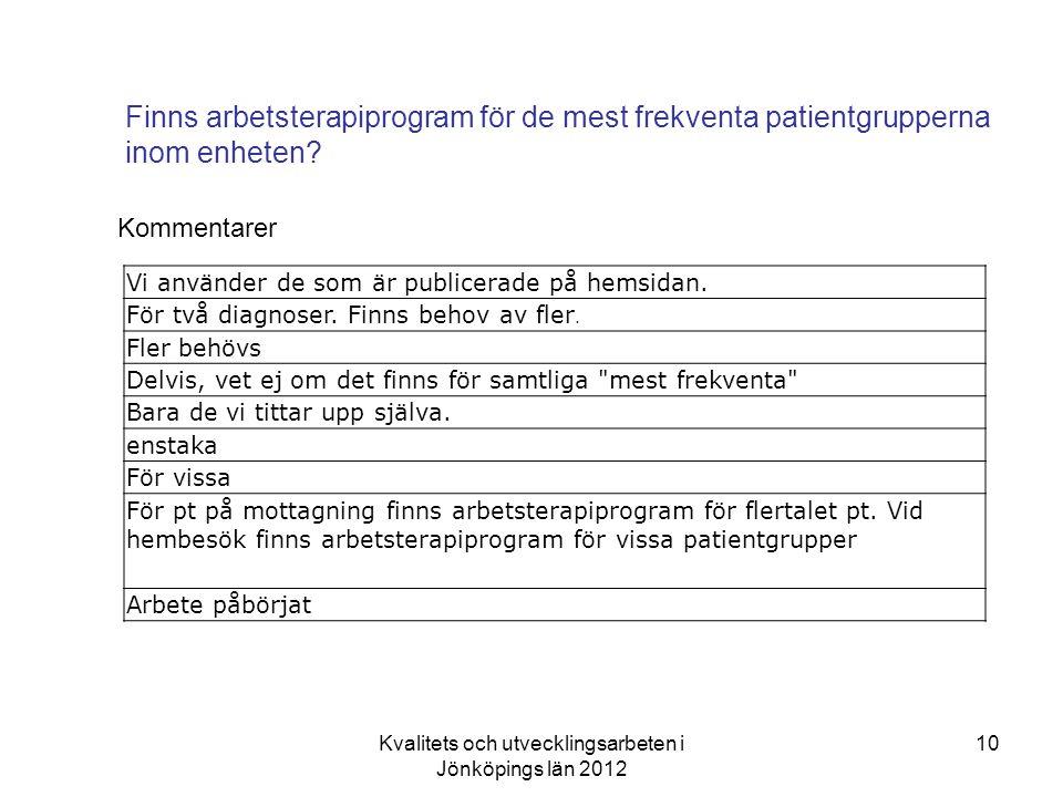 Kvalitets och utvecklingsarbeten i Jönköpings län 2012 10 Finns arbetsterapiprogram för de mest frekventa patientgrupperna inom enheten.
