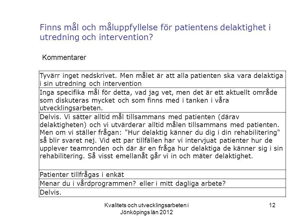 Kvalitets och utvecklingsarbeten i Jönköpings län 2012 12 Finns mål och måluppfyllelse för patientens delaktighet i utredning och intervention.