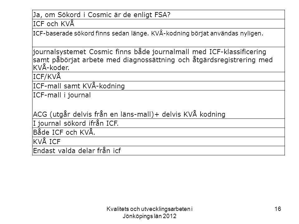 Kvalitets och utvecklingsarbeten i Jönköpings län 2012 16 Ja, om Sökord i Cosmic är de enligt FSA.