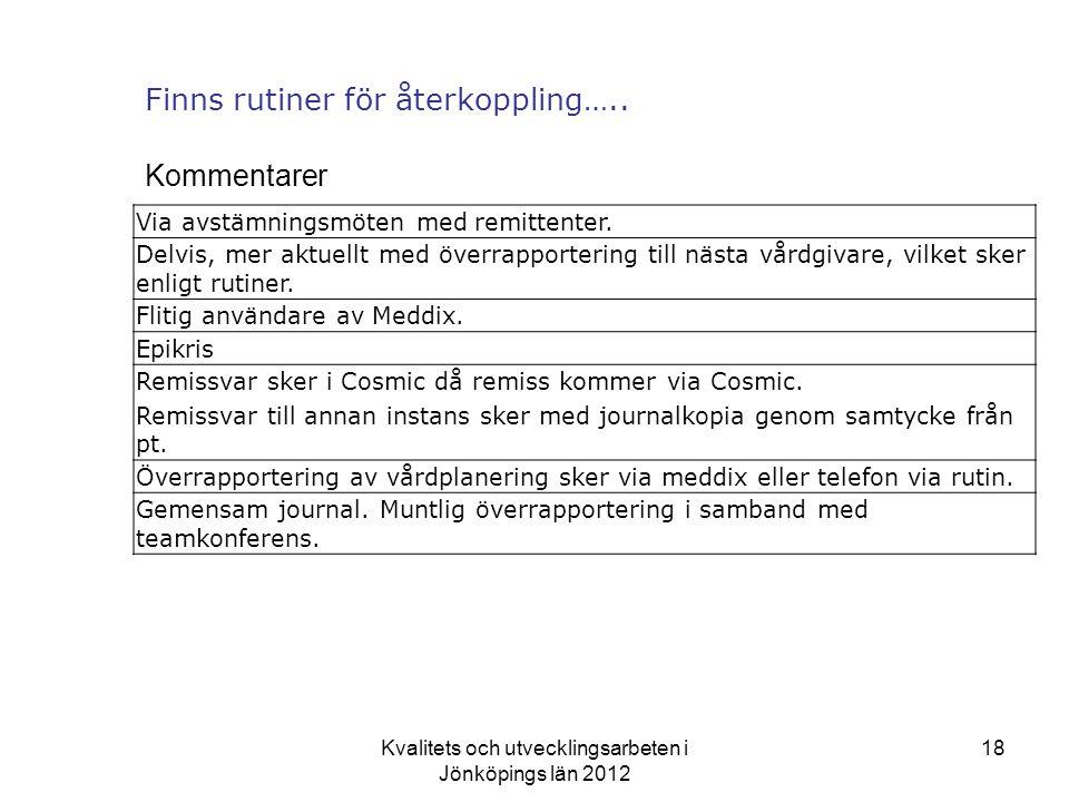 Kvalitets och utvecklingsarbeten i Jönköpings län 2012 18 Finns rutiner för återkoppling…..