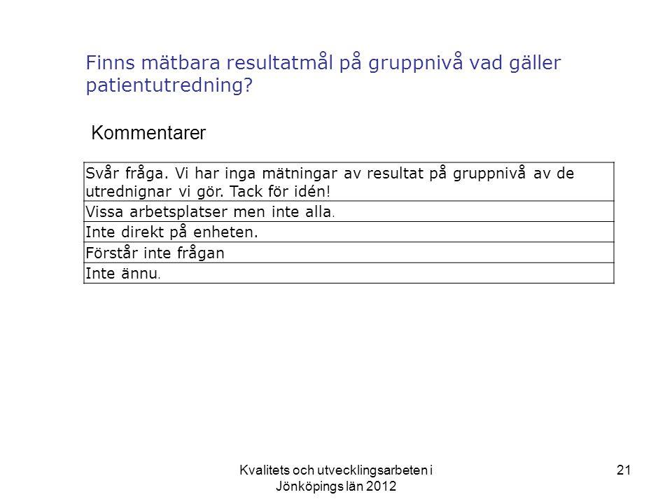 Kvalitets och utvecklingsarbeten i Jönköpings län 2012 21 Finns mätbara resultatmål på gruppnivå vad gäller patientutredning.