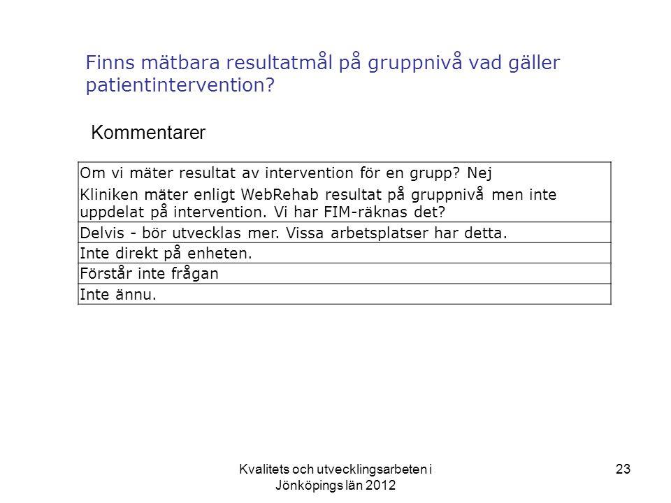 Kvalitets och utvecklingsarbeten i Jönköpings län 2012 23 Finns mätbara resultatmål på gruppnivå vad gäller patientintervention.