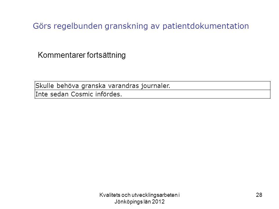 Kvalitets och utvecklingsarbeten i Jönköpings län 2012 28 Görs regelbunden granskning av patientdokumentation Kommentarer fortsättning Skulle behöva granska varandras journaler.