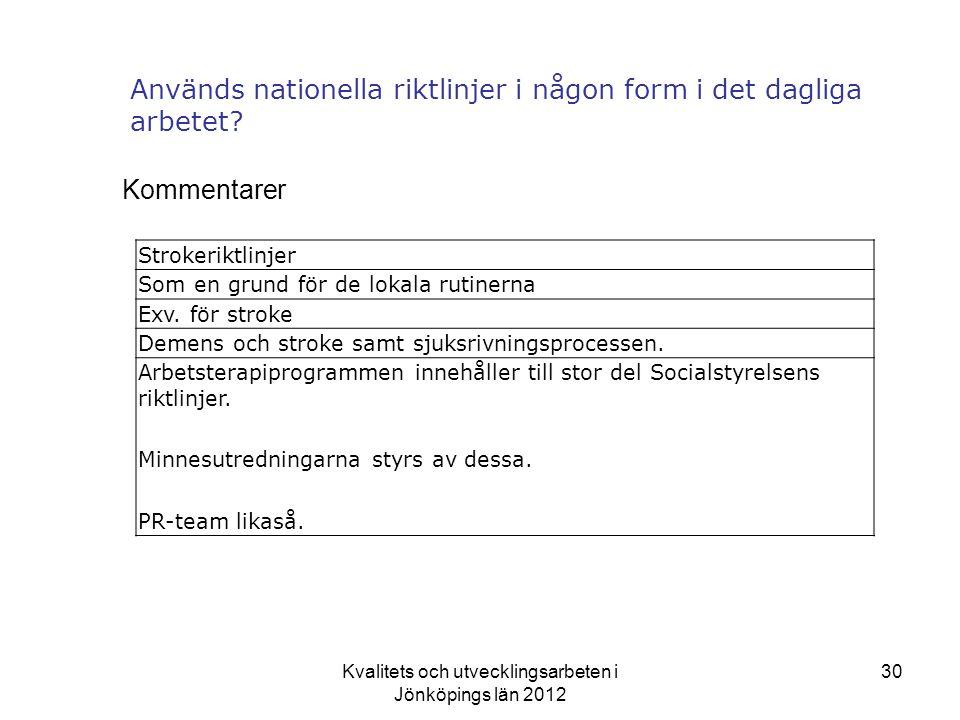 Kvalitets och utvecklingsarbeten i Jönköpings län 2012 30 Används nationella riktlinjer i någon form i det dagliga arbetet.