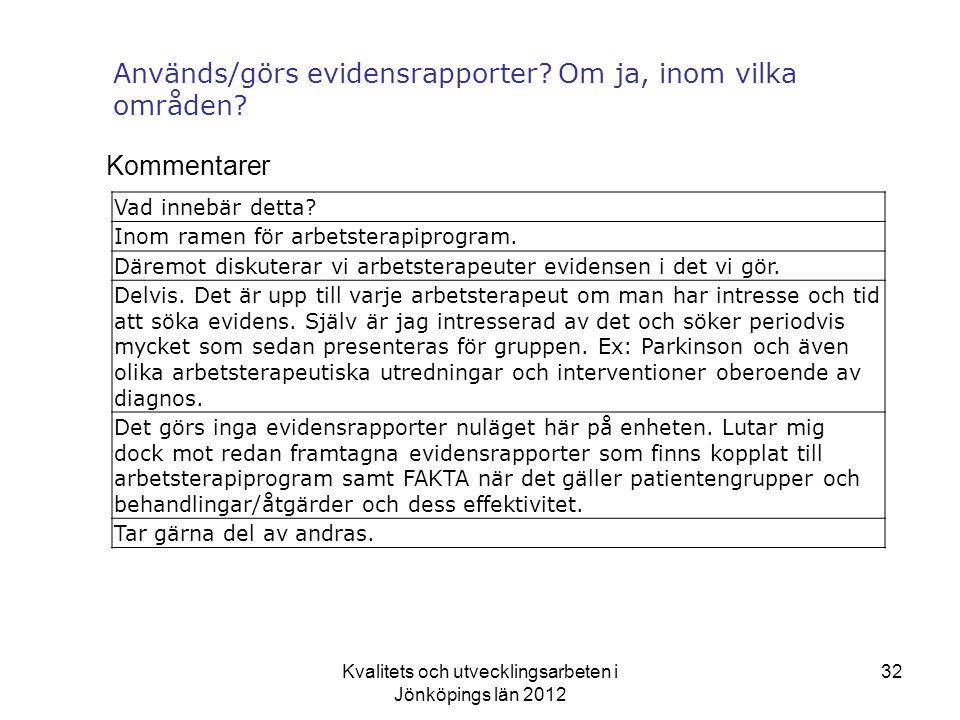 Kvalitets och utvecklingsarbeten i Jönköpings län 2012 32 Används/görs evidensrapporter.