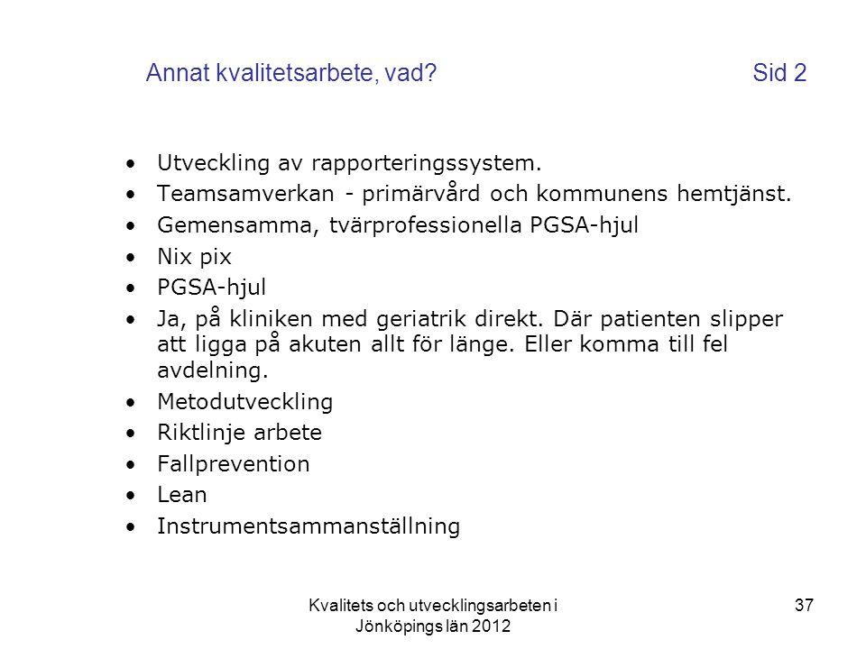 Kvalitets och utvecklingsarbeten i Jönköpings län 2012 37 Annat kvalitetsarbete, vad?Sid 2 •Utveckling av rapporteringssystem.